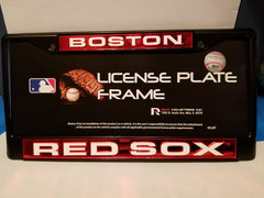 MLB Boston Red Sox Black Laser Cut Chrome License Plate Frame