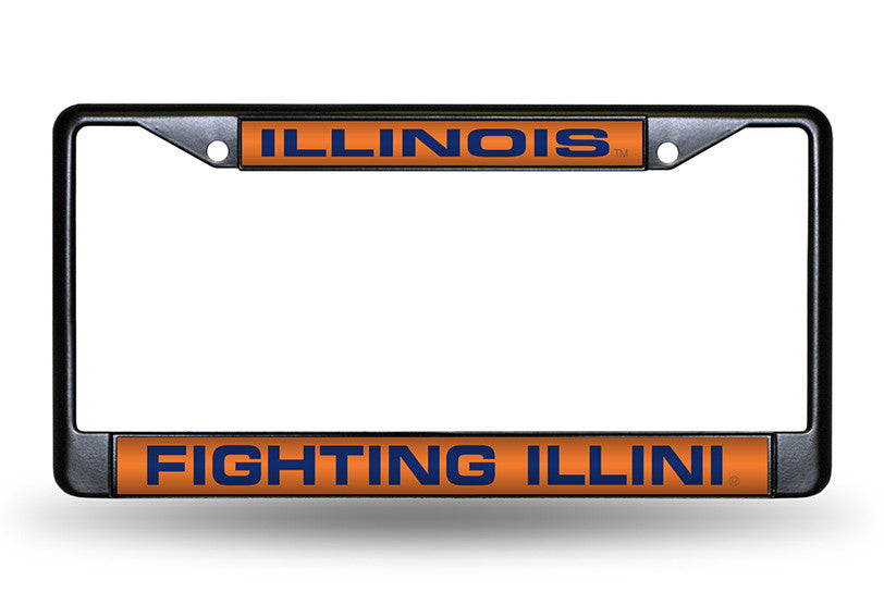 NCAA Illinois Fighting Illini Black Laser Cut Chrome License Plate Frame