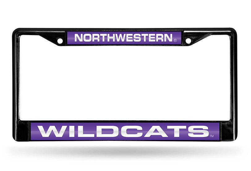 NCAA Northwestern Wildcats Black Laser Cut Chrome License Plate Frame