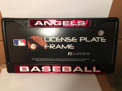 MLB Los Angeles Angels Black Laser Cut Chrome License Plate Frame