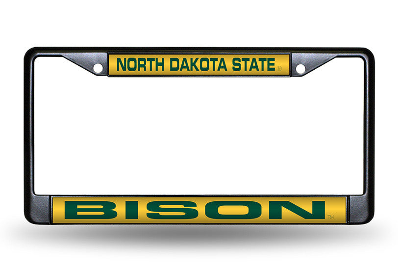 NCAA North Dakota State Bison Black Laser Cut Chrome License Plate Frame