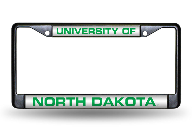 NCAA North Dakota Fighting Hawks Black Laser Cut Chrome License Plate Frame