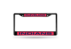 MLB Cleveland Indians Black Laser Cut Chrome License Plate Frame