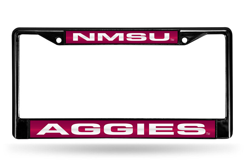 NCAA New Mexico State Aggies Black Laser Cut Chrome License Plate Frame