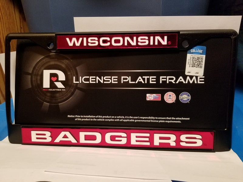 NCAA Wisconsin Badgers Black Laser Cut Chrome License Plate Frame