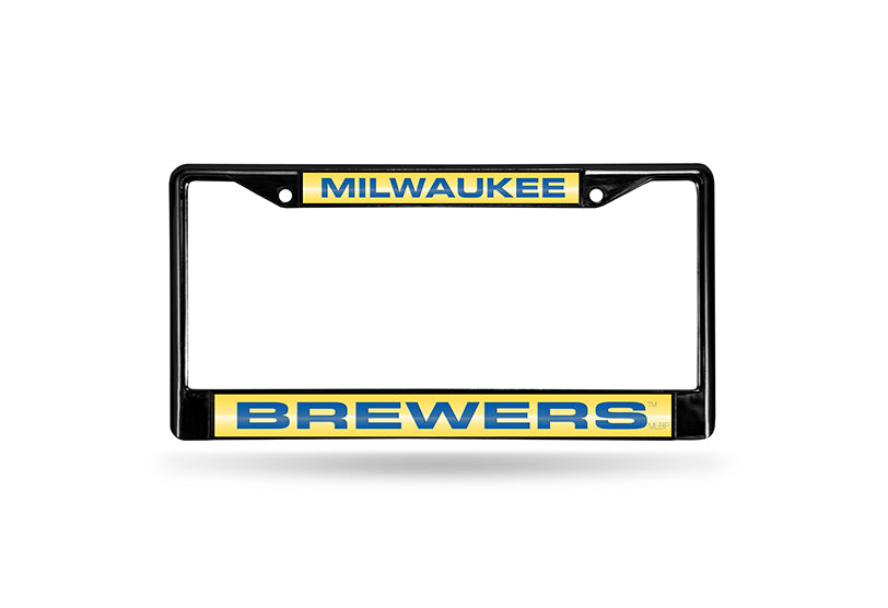 MLB Milwaukee Brewers Black Laser Cut Chrome License Plate Frame