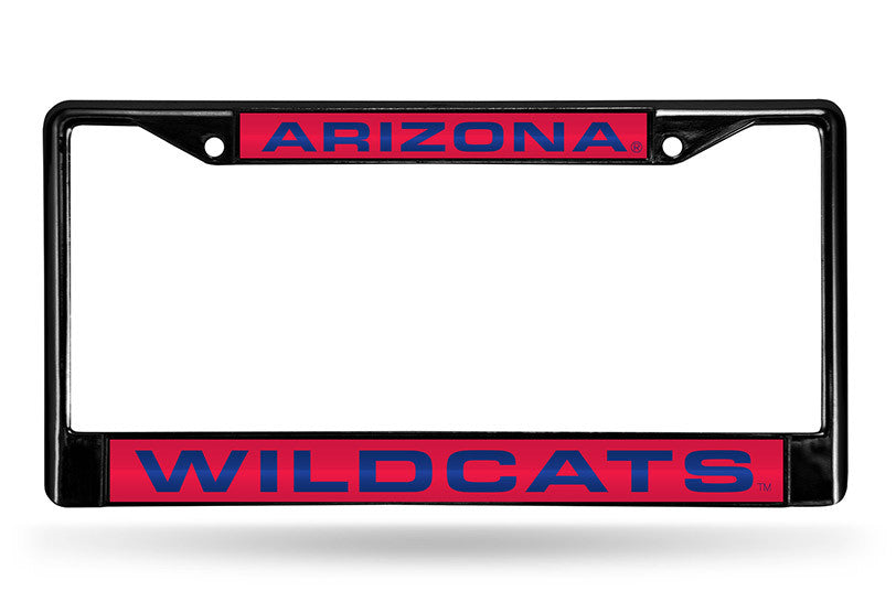 NCAA Arizona Wildcats Black Laser Cut Chrome License Plate Frame