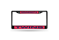MLB Minnesota Twins Black Laser Cut Chrome License Plate Frame