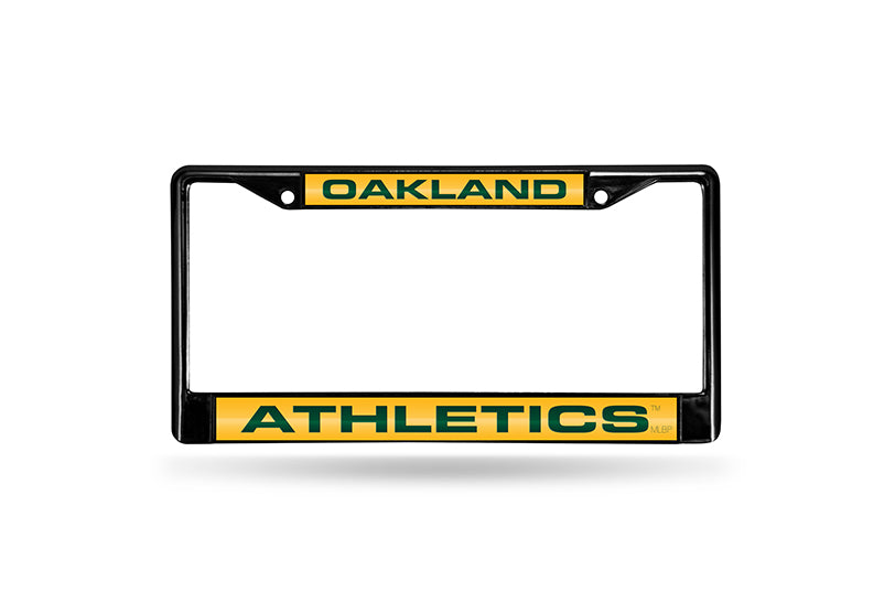 MLB Oakland Athletics Black Laser Cut Chrome License Plate Frame