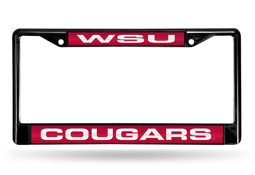 NCAA Washington State Cougars Black Laser Cut Chrome License Plate Frame