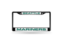 MLB Seattle Mariners Black Laser Cut Chrome License Plate Frame