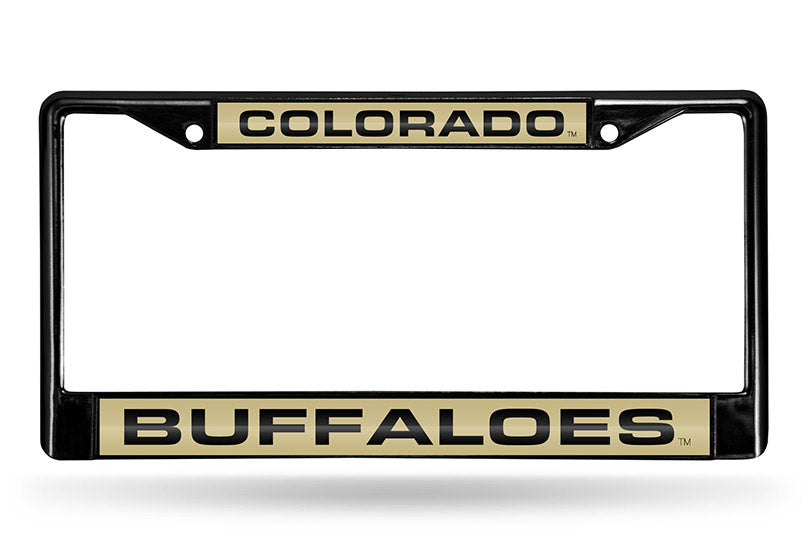 NCAA Colorado Buffaloes Black Laser Cut Chrome License Plate Frame