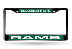 NCAA Colorado State Rams Black Laser Cut Chrome License Plate Frame