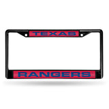 MLB Texas Rangers Black Laser Cut Chrome License Plate Frame
