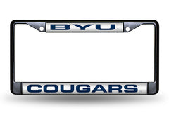 NCAA BYU Cougars Black Laser Cut Chrome License Plate Frame
