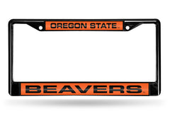 NCAA Oregon State Beavers Black Laser Cut Chrome License Plate Frame