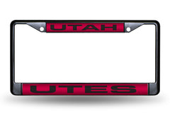 NCAA Utah Utes Black Laser Cut Chrome License Plate Frame