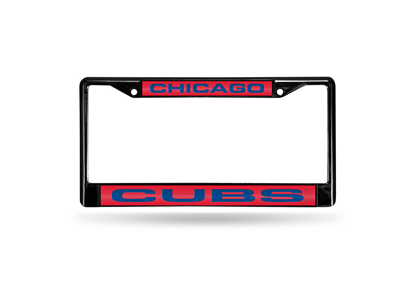 MLB Chicago Cubs Black Laser Cut Chrome License Plate Frame