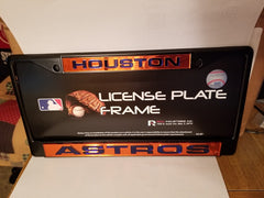 MLB Houston Astros Black Laser Cut Chrome License Plate Frame