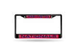 MLB Washington Nationals Black Laser Cut Chrome License Plate Frame