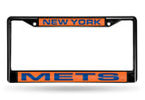 MLB New York Mets Black Laser Cut Chrome License Plate Frame