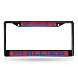 MLB Philadelphia Phillies Black Laser Cut Chrome License Plate Frame