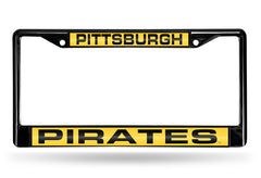 MLB Pittsburgh Pirates Black Laser Cut Chrome License Plate Frame