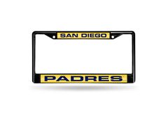 MLB San Diego Padres Black Laser Cut Chrome License Plate Frame