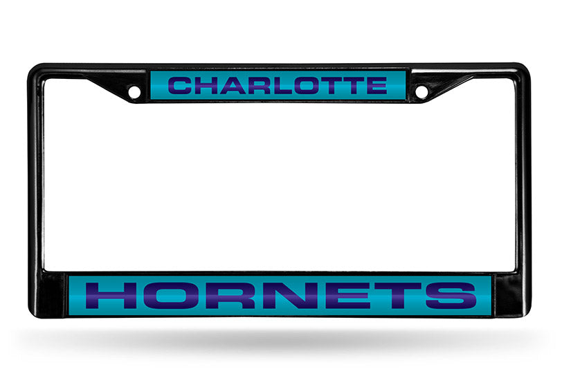 NBA Charlotte Hornets Black Laser Cut Chrome License Plate Frame