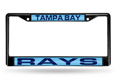 MLB Tampa Bay Rays Black Laser Cut Chrome License Plate Frame