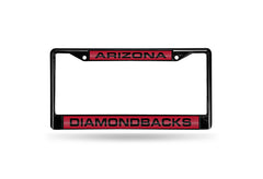 MLB Arizona Diamondbacks Black Laser Cut Chrome License Plate Frame