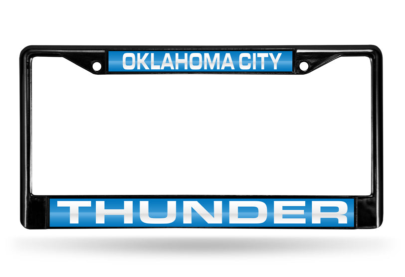 NBA Oklahoma City Thunder Black Laser Cut Chrome License Plate Frame