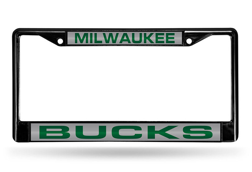 NBA Milwaukee Bucks Black Laser Cut Chrome License Plate Frame
