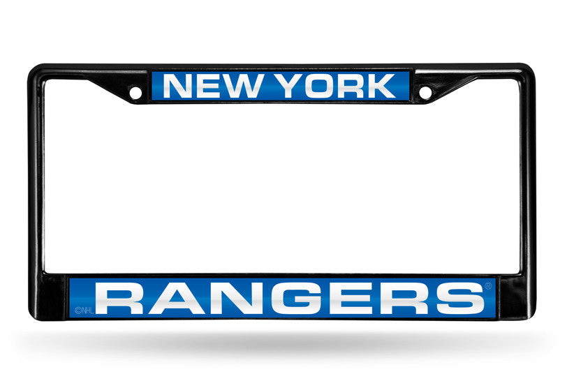 NHL New York Rangers Black Laser Cut Chrome License Plate Frame