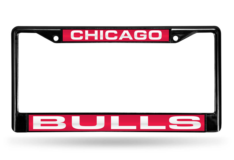 NBA Chicago Bulls Black Laser Cut Chrome License Plate Frame