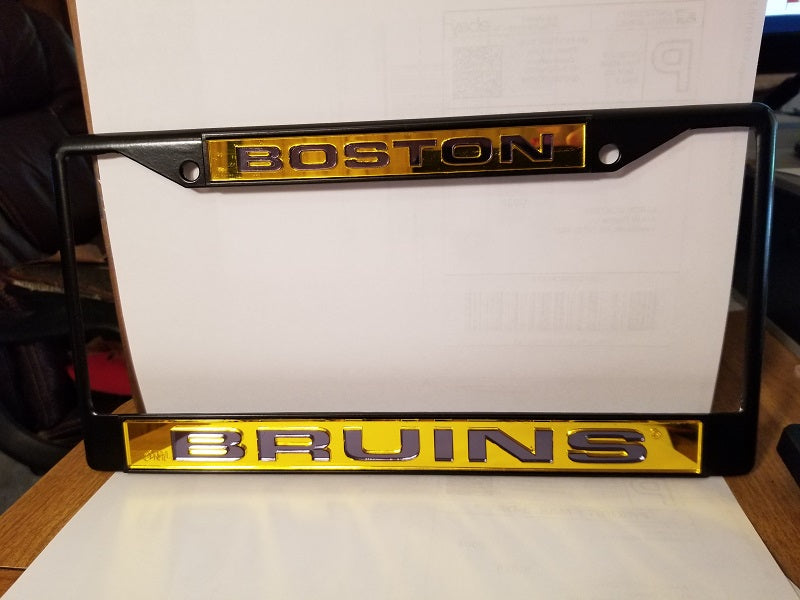 NHL Boston Bruins Black Laser Cut Chrome License Plate Frame
