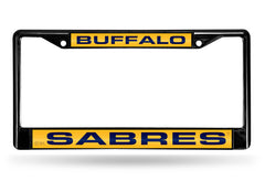 NHL Buffalo Sabres Black Laser Cut Chrome License Plate Frame