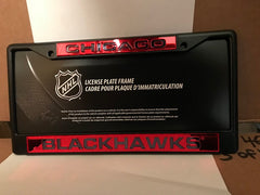 NHL Chicago Blackhawks Black Laser Cut Chrome License Plate Frame