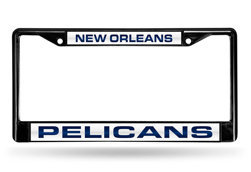 NBA New Orleans Pelicans Black Laser Cut Chrome License Plate Frame