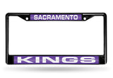 NBA Sacramento Kings Black Laser Cut Chrome License Plate Frame