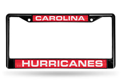 NHL Carolina Hurricanes Black Laser Cut Chrome License Plate Frame