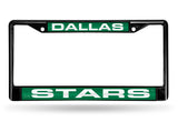 NHL Dallas Stars Black Laser Cut Chrome License Plate Frame