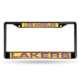 NBA Los Angeles Lakers Black Laser Cut Chrome License Plate Frame