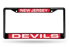 NHL New Jersey Devils Black Laser Cut Chrome License Plate Frame