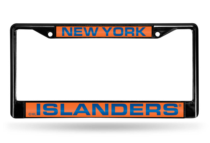NHL New York Islanders Black Laser Cut Chrome License Plate Frame