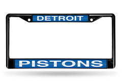 NBA Detroit Pistons Black Laser Cut Chrome License Plate Frame
