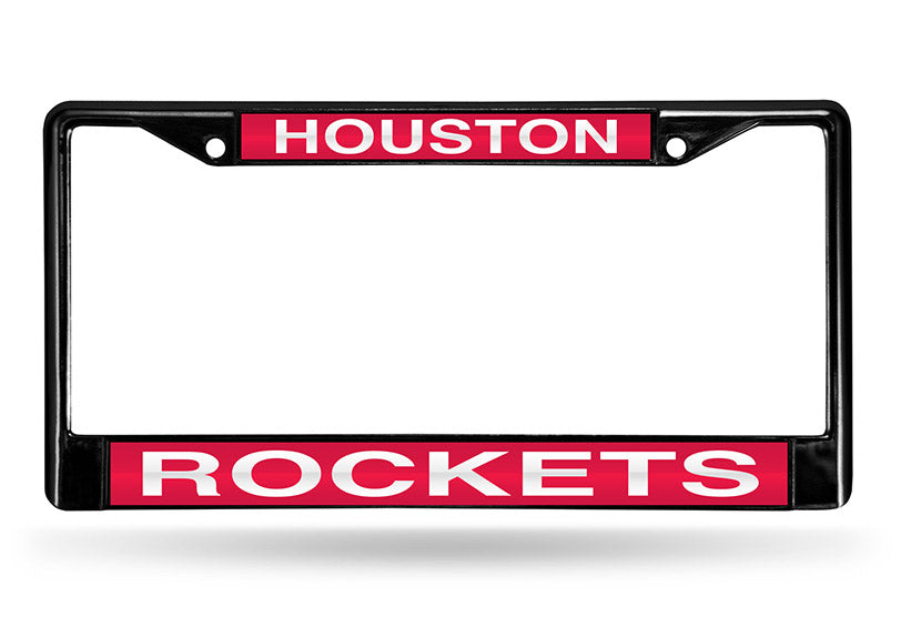 NBA Houston Rockets Black Laser Cut Chrome License Plate Frame