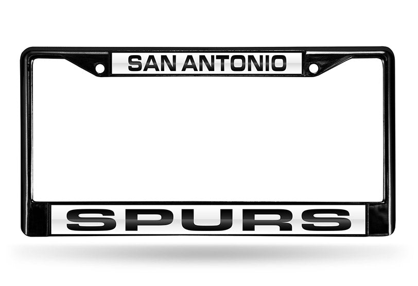 NBA San Antonio Spurs Black Laser Cut Chrome License Plate Frame