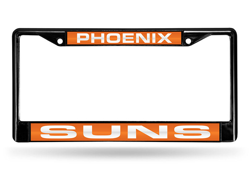 NBA Phoenix Suns Black Laser Cut Chrome License Plate Frame