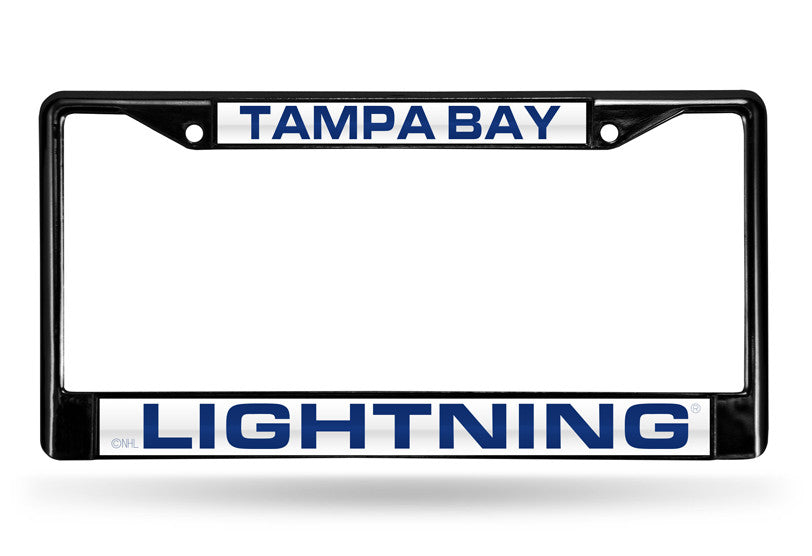 NHL Tampa Bay Lightning Black Laser Cut Chrome License Plate Frame